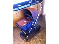 Bugaboo Cameleon pushchair and carry cot with extras, brown, good condition