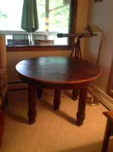 Antique rare oak round dining table/harvest table