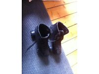 Good quality, black leather, roller boots