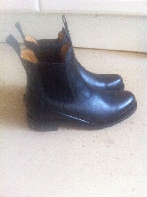 Womens New Black Leather Hunter Equestrian Chelsea Boots Size 6