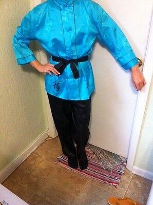 Exotic Blue Japenese  Kimono Black belt, - halloween  costume - Kimono Halloween Costumes