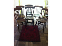 6 Oak and Elm, Country Style Dining Chairs 19th Century