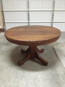 Round Mission Style Wood Dining Table