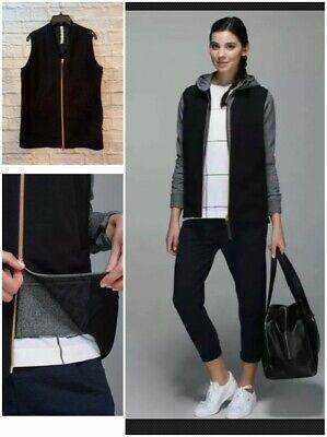 Lululemon Departure Vest Black Rose Gold Zipper Size 6 V neck jacket big pockets