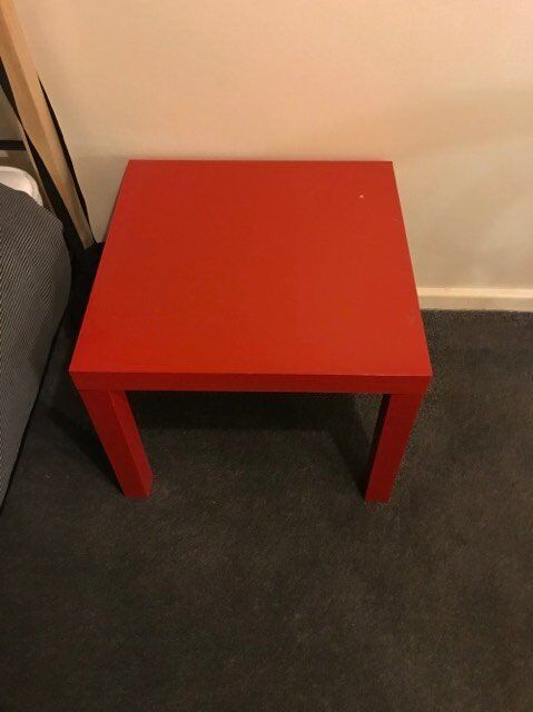 Red square table.