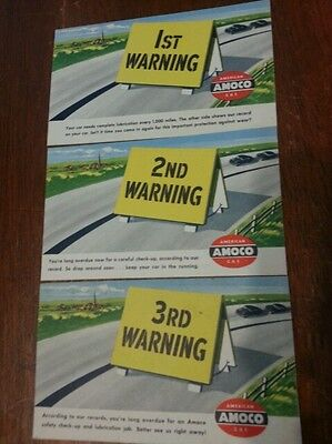 Vintage AMOCO 3 POST CARD  warning gas station advertising sign