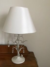 Table Lamp with Cream lamp shade and pretty crystal effect droplets