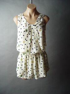 Sale-Ivory-Polka-Dot-Novelty-Print-Vtg-y-40s-50s-Tap-Shorts-Playsuit-Romper-S