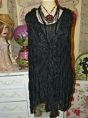 Pretty Angel Vintage Chic Romantic Black Crochet Lace Layer Tunic Top Blouse S