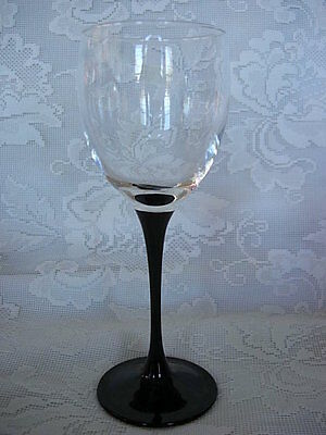 Quality Black / Crystal Blown Glass Wine Goblet - Made In France- More Available