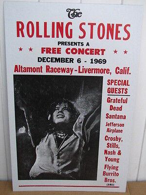 Vintage Rolling Stones Concert Poster 1969, Altamont Raceway