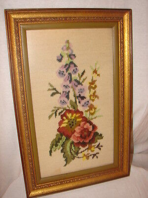 Hand Crafted Needlepoint Flower Picture ~ Framed with Glass Picture ~ NICE