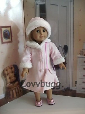"Lovvbugg Pink Velvet n Fur Coat n Hat for 18"" American Girl Doll Clothes"