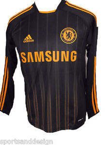 Chelsea FC Adidas Black Boys Away Football Shirt 10-11