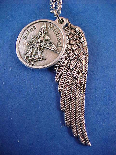 Archangel St Michael Saint Medal Necklace Pendant Angel Wing Protection, Prayer