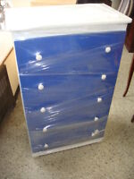 Blue and White 5 Drawer Chest