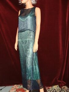 1920S-VINTAGE-FLAPPER-HEAVILY-BEADED-BLUE-DROP-WAIST-FULL-LENGTH-FORMAL-DRESS-S