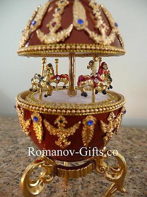"Russian Imperial Empress Alexandra Musical Carousel Egg Strauss""BLUE DANUBE"""