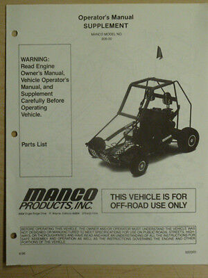 MANCO MODEL 806-00 GO KART PARTS LIST OPERATORS MANUAL CART