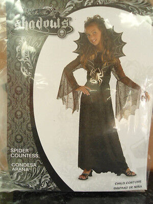 Girls Size Small 4-6 In The Shadows Spider Countess Halloween Costume NEW