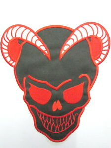 Devil-Demon-Horned-Satan-Skull-Iron-On-Rockabilly-Biker-Patch-FREE-SHIPPING