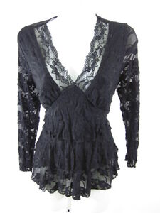 FREE-LUNCH-Juniors-Black-Lace-Long-Sleeve-Shirt-Sz-L