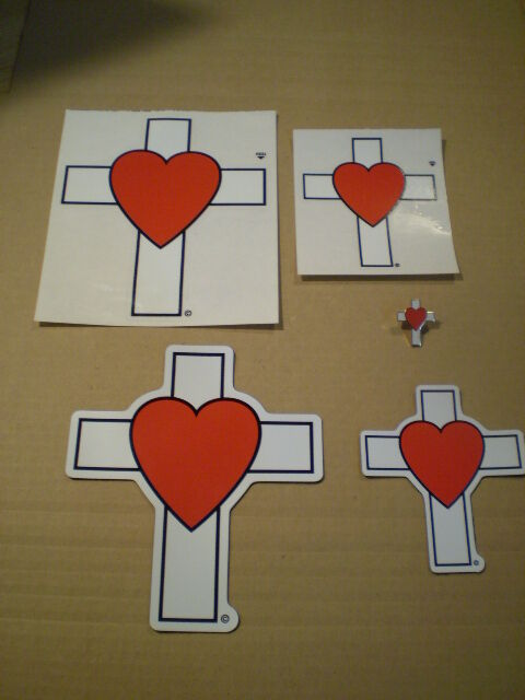 Love Of Christ Christian Heart Cross Magnet And Peel & Stick Decals And Pin