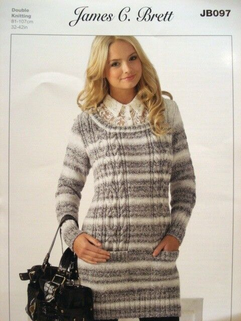 James C Brett Ladies Tunic Jumper Marble DK Yarn Knitting Pattern JB097