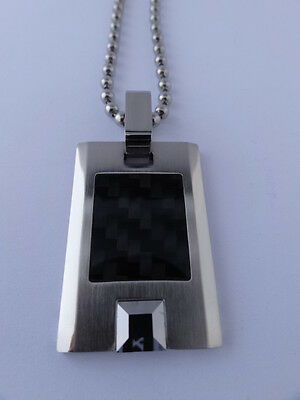 Shr & Simmons Stainless Steel Tungsten Carbon Fiber Dog Tag Necklace -great Gift