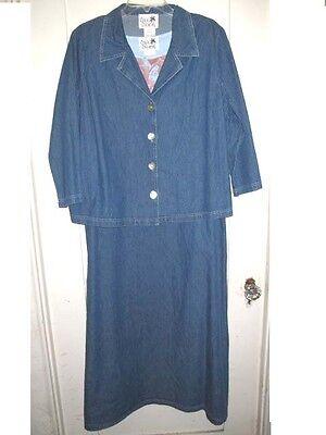 2pc Copa Cabana Dress/jacket Set Denim Floral Rhinestone 1x 2x $90 Usa Made