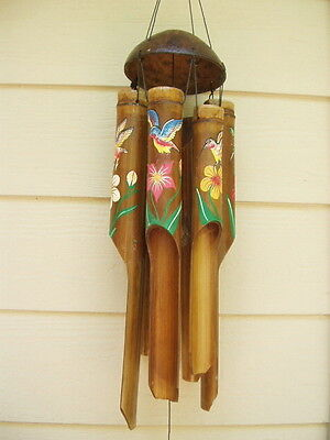 Bamboo Wind Chimes Painted Hummingbird and Flower Large Tubes FREE SHIP