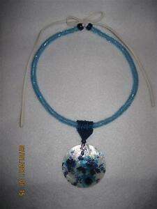 Peyote-Tube-Necklace-with-painted-Shell-Pendant-Original-Design