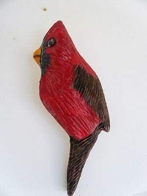 Canadian Hand Carved Wood 3 Red Cardinal Christmas Holiday Pin Brooch Gls I Ufl