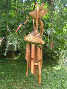 carillon en bambou fibre et noix de coco oiseau ebay. Black Bedroom Furniture Sets. Home Design Ideas