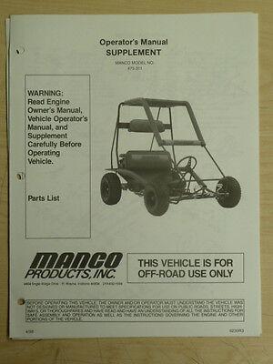 MANCO MODEL 475-311 GO KART PARTS LIST OPERATORS MANUAL CART