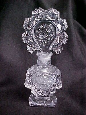Vintage Antique Imperial Glass Clear Perfume Bottle with Tall Stopper