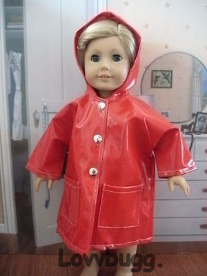 """Red Rain Coat for 18"""" American Girl or Bitty Baby Doll Clothes"""