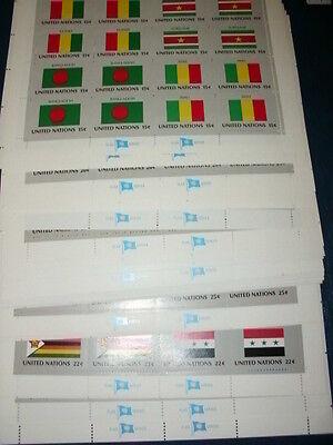 Sammlung, UNO New York Kleinbogen, Flaggen 1980-1989 komplett, postfrisch