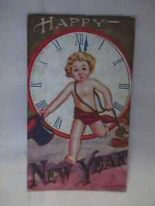 Original-1909-Happy-New-Year-Baby-New-Year-Postcard