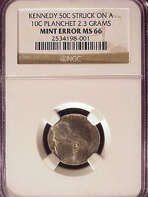 Click now to see the BUY IT NOW Price! KENNEDY 50C STRUCK ON A 10C PLANCHET NGC MS 66   NEAT AND  ERROR!