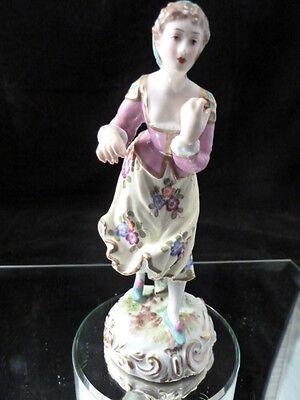 VERY CHARMING MEISSEN style  GIRL  FIGURINE   PORCELAIN de PARIS factory France