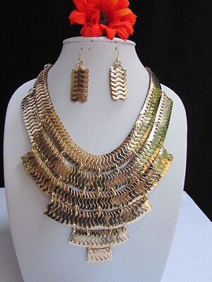 Women Necklace Wide Gold Thick Metal Strands Links Earrings Fashion Set