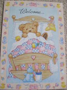 WONDERFUL-COLOURFUL-TEDDY-IN-BED-WELCOME-TO-YOUR-NEW-BABY-GREETING-CARD