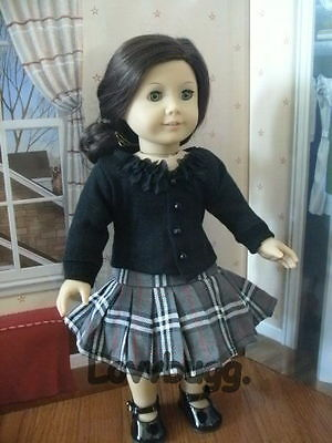 "Lovvbugg Plaid Skirt n Sweater Set for 18"" American Girl Doll Clothes"