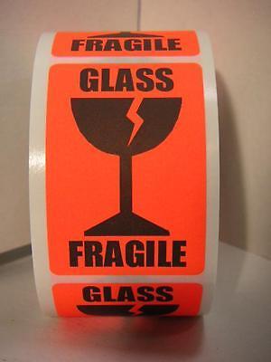 Fragile Glass Large Intl Symbol Fluorescent Red Warning Stickers Labels 250rl