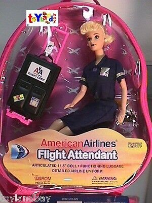 "Flight Attendant Doll American Airlines 11"" Blond w/ Backpack & Accessories New"
