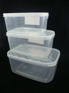10 x set of 3 plastic food storage containers clear container wholesale bulk ebay. Black Bedroom Furniture Sets. Home Design Ideas
