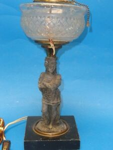 ANTIQUE BRONZE CRYSTAL BOUDOIR TABLE LAMP On MARBLE BASE Possibly Fre