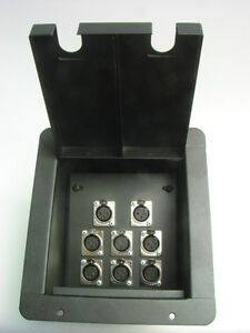 Recessed floor box 6 xlr female 2 xlr male black powder for Xlr floor box