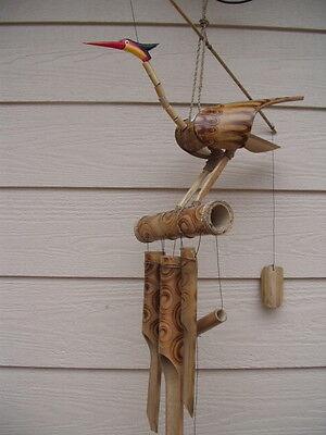 Bamboo Wind Chimes Bobbing Bird Fireburnt Swirl FREE SHIP